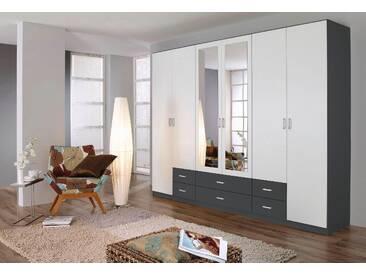 Rauch Wäscheschrank, B/T/H 271/54/210 cm, mit Spiegeltüren, weiß, Breite 271 cm, 6-türig, mit 6 Türen