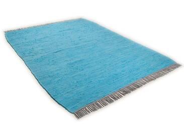 Tom Tailor Teppich »Cotton Colors«, 60x120 cm, beidseitig verwendbar, 8 mm Gesamthöhe, blau