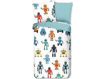 Good Morning Wendebettwäsche »Robots«, 80x80 cm, weiß, aus 100% Baumwolle