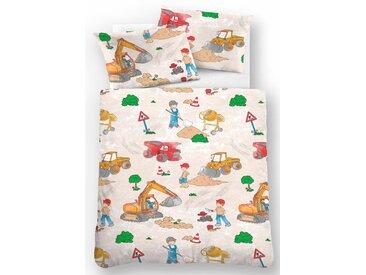 Biberna Kinderbettwäsche  »Bauarbeiter«, 80x80 cm, beige, aus 100% Baumwolle