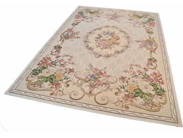 Theko® Teppich »Flomi Floral«, 200x290 cm, besonders pflegeleicht, 3 mm Gesamthöhe, beige