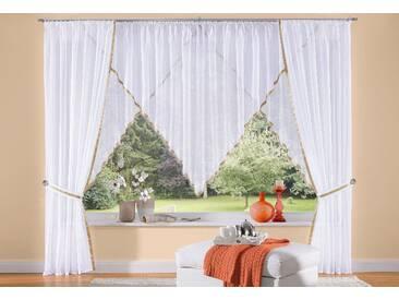 My Home Kuvertstore »Volano«, H/B 140/595 cm, pflegeleicht, beige, transparenter Stoff