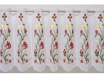 Stickereien Plauen Scheibengardine  »Tulpe«, weiß, transparenter Stoff