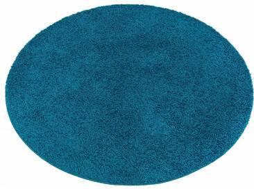 My Home Hochflor-Teppich »Bodrum«, 9 (Ø 140 cm), 30 mm Gesamthöhe, blau