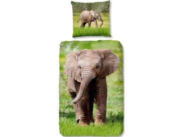 Good Morning Kinderbettwäsche »Elephant«, 80x80 cm, grün, aus 100% Baumwolle