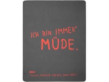 Biederlack Wohndecke »Müde außer«, 150x200 cm, rot