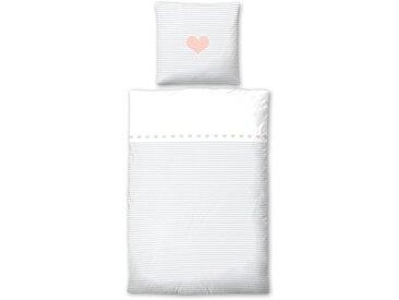 Biberna Kinderbettwäsche »Striped Heart«, 80x80 cm, grau, aus reiner Baumwolle