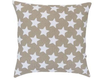 Elbersdrucke Dekokissen »STARS ALLOVER«, reine Baumwolle, braun