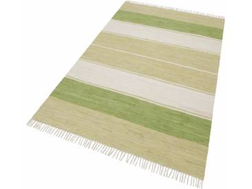 Theko® Teppich »Stripe Cotton«, 120x180 cm, 5 mm Gesamthöhe, grün