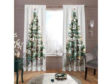 My Home Vorhang  »LED-Tannenbaum«, H/B 230/140 cm, silber, blickdichter Stoff