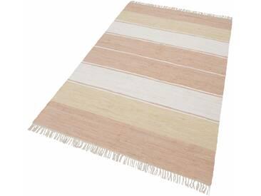 Theko® Teppich »Stripe Cotton«, 60x120 cm, 5 mm Gesamthöhe, beige