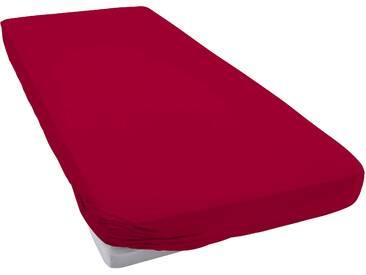 Janine Spannbettlaken »Mako-Jersey«, 1x140-160/200 cm, aus reiner Baumwolle, rot
