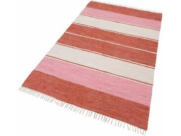 Theko® Teppich »Stripe Cotton«, 120x180 cm, 5 mm Gesamthöhe, rot