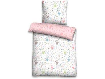Biberna Kinderbettwäsche »Leon«, 80x80 cm, rosa