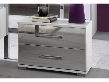 Rauch Nachttisch »Moita«, B/T/H 50/37/38 cm, mit 2 Schubkästen, weiß, Schubkastenfronten mit Spiegelauflagen