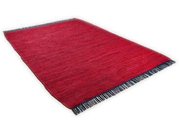Tom Tailor Teppich »Cotton Colors«, 80x150 cm, beidseitig verwendbar, 8 mm Gesamthöhe, rot