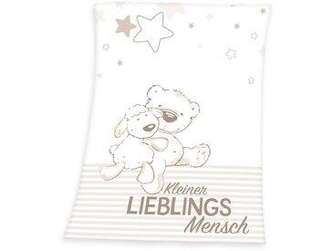 Herding Babydecke »Kleiner Lieblingsmensch«, 75x100 cm, weiß