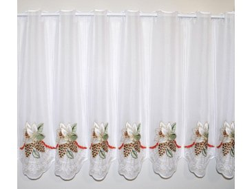 Stickereien Plauen Scheibengardine  »Christrose«, bunt, transparenter Stoff