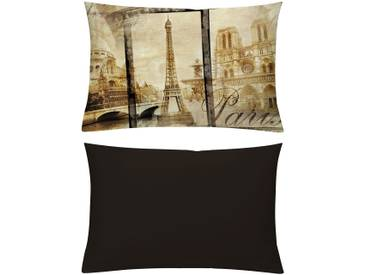 Emotion Textiles Kissenhüllen »Alt Paris Sepia«, braun, blickdichter Stoff