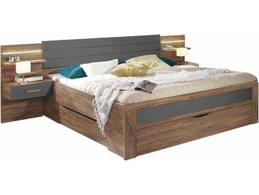 Rauch Bettanlage »Bernau«, inkl. 3 geräumiger Schubkästen, 180/200 cm, grau, Set aus Bett und 2 Nachttischen