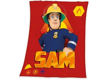 Feuerwehrmann Sam Kinderdecke  »Sam«, 130x160 cm, rot