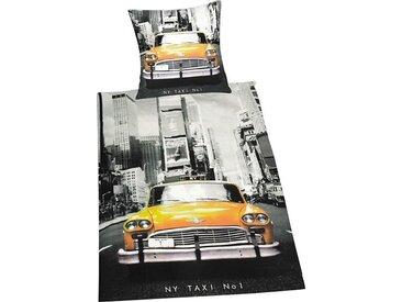 Herding Young Collection Bettwäsche »Taxi«, 135x200 cm, trocknergeeignet, pflegeleicht, aus 100% Baumwolle, schwarz