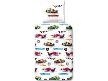 Good Morning Kinderbettwäsche »Formule 1«, 80x80 cm, weiß, aus 100% Baumwolle
