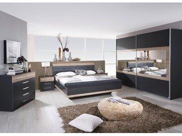 Rauch Schlafzimmer-Set »Tarragona«, grau, Set aus Schwebetürschrank, Bett inkl. Bettbank und 2 Nachttischen