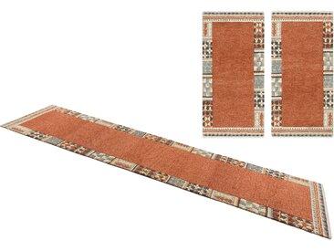 Theko Exklusiv Bettumrandung »Nuno«, 14 (2x Brücke 140x70 cm & 1x Läufer 320x70 cm), strapazierfähig, 14 mm Gesamthöhe, braun