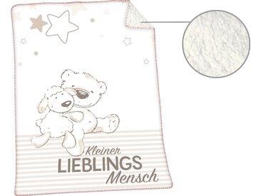 Herding Babydecke »Jonas Lieblingsmensch«, 75x100 cm, hautfreundlich, weiß