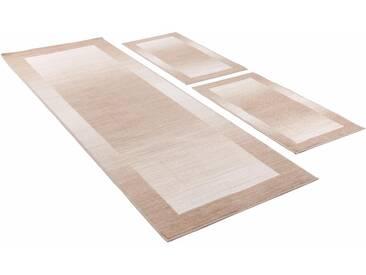 Theko® Bettumrandung »Gabbeh Ideal«, 14 (2x Brücke 140x67 cm & 1x Läufer 270x67 cm), 6 mm Gesamthöhe, beige