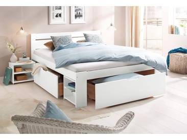 Home Affaire Stauraum-Bett »Hannes«, Liegefläche 140/200 cm, weiß, mit Rollrost