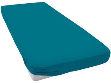 Schlafgut Spannbettlaken »Mako-Jersey«, 1x180-200/200 cm, bügelfrei, blau, aus 100% Baumwolle