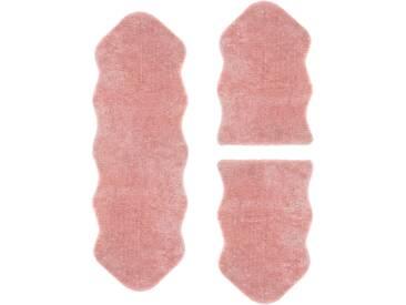 Andiamo Bettumrandung   »Lamm Fellimitat«, 14 (2x Brücke 80x55 cm & 1x Läufer 160x55 cm), 20 mm Gesamthöhe, rosa