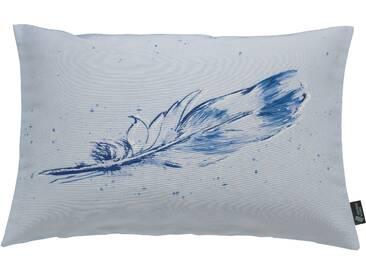 Emotion Textiles Kissenhülle  »Tempera Feder«, blau