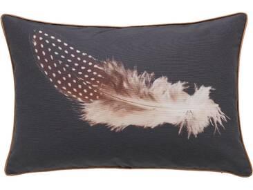 Emotion Textiles Kissenhülle  »Feder«, schwarz
