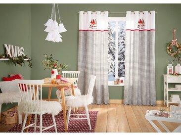 My Home Vorhang »Wichtelmännchen«, H/B 225/140 cm, 100% Baumwolle, grau, blickdicht