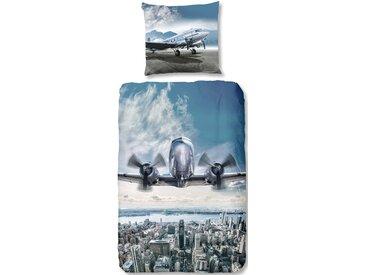 Good Morning Kinderbettwäsche »Airplane«, 80x80 cm, blau, aus 100% Baumwolle
