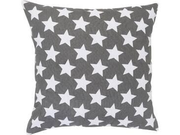 Elbersdrucke Dekokissen »STARS ALLOVER«, reine Baumwolle, grau