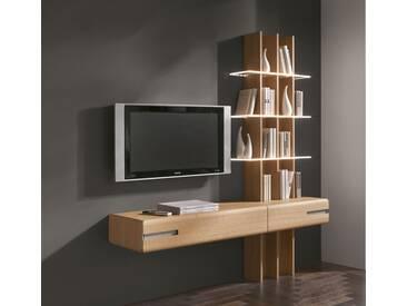 Thielemeyer Casa Eiche Massivholz Regal TV Lösung 3 Glasböden optiwhite Hänge Lowboard Breite wählbar