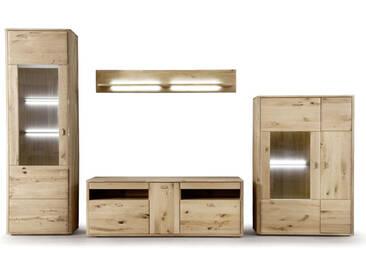 MCA Furniture Wohnkombination 1 Ravello  4-teilig Vitrine, Highboard, Wandpaneel und TV Element für Ihr Wohnzimmer oder Esszimmer