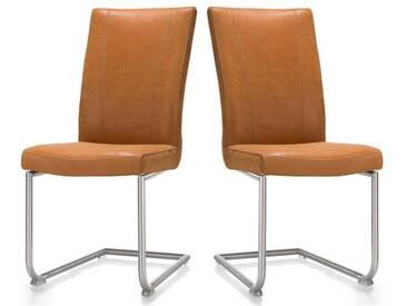 Habufa Sono Freischwinger 2er Set Stuhl mit Rundrohr-Edelstahlgestell für Ihr Esszimmer Schwingstuhl im Echtlederbezug oder Ledermix wählbar Handgriff an der Rückenlehne wählbar