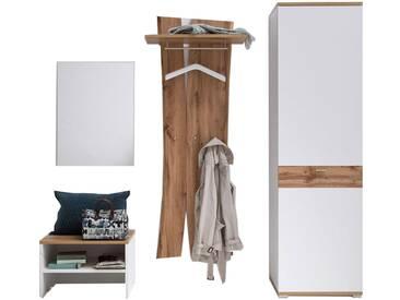 MCA furniture Garderobe Nia Garderobenkombination 2 vierteilig in weiß mit Absetzung Wotan Eiche Nachbildung mit Bank Kommode Spiegel und Garderobenschrank für Ihre Diele