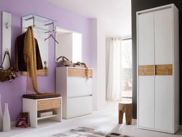 Wittenbreder Merano Muchele komplette Garderobe Vorschlagskombination 08 für Flur mit Schuh Klappschrank, Schrank, Bank und Spiegel