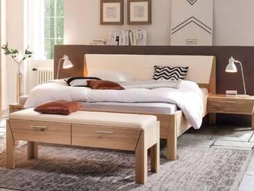 Thielemeyer Pura Komfort-Liegenbett in Korpusausführung Naturbuche Massivholz mit Kopfteil mit Kunstlederfüllung weiß wahlweise mit Konsole und Bettbank