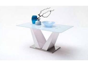 MCA Säulentisch Franjo 150x90 cm Tischplatte Sicherheitsglas weiß lackiert Säule MDF Hochglanz weiß lackiert Bodenplatte Edelstahl poliert ummantelt Wohnzimmer Speisezimmer Esszimmer Furniture