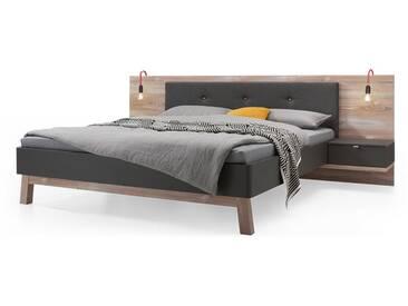 Nolte Möbel Cepina Bettanlage 1 im alpinen Chic, Liegefläche wählbar, Kombination aus Basalt und Picea Pine inklusive 2 Nachtschränken
