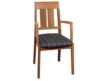 Dkk Klose Kollektion Polstersessel S40 mit Armlehnen für Küche Wohnzimmer oder Esszimmer mit Holzsprossen im Rücken und Sitzpolsterung in zwei Varianten erhältlich zahlreiche Holzausführungen und Bezugsvarianten Leder oder Textil wählbar