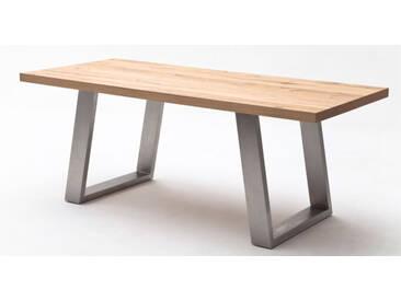 MCA Esstisch Tischplatte massiv furniert Alvaro Tisch Gestell Beine schräg in Crack Eiche natur oder Crack Eiche schoko Größe wählbar Furniture