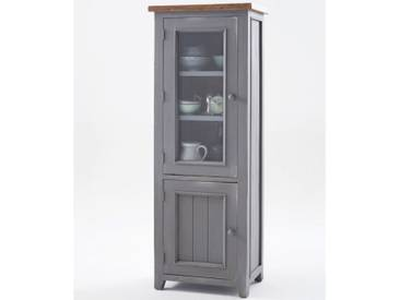 MCA furniture Vitrine Byron aus Massivholz Recycle Kiefer mit Absetzung Vintage braun, Farbausführung wählbar